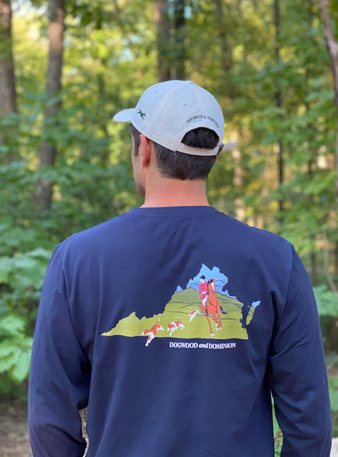 Virginia foxhunting shirt, Virginia foxhunt, Foxhound shirt, Virgini Navy Foxhunting navy shirt