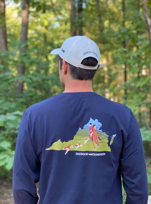 Virginia foxhunting shirt, Virginia foxhunt, Foxhound shirt, Virgini Navy Foxhunting navy shirt