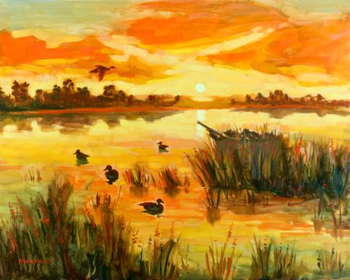 Waterfowling at Sunrise Print