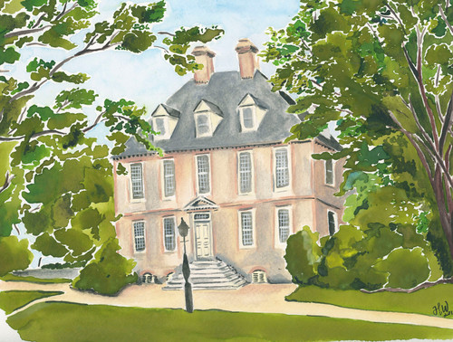 William & Mary President's House Watercolor Print