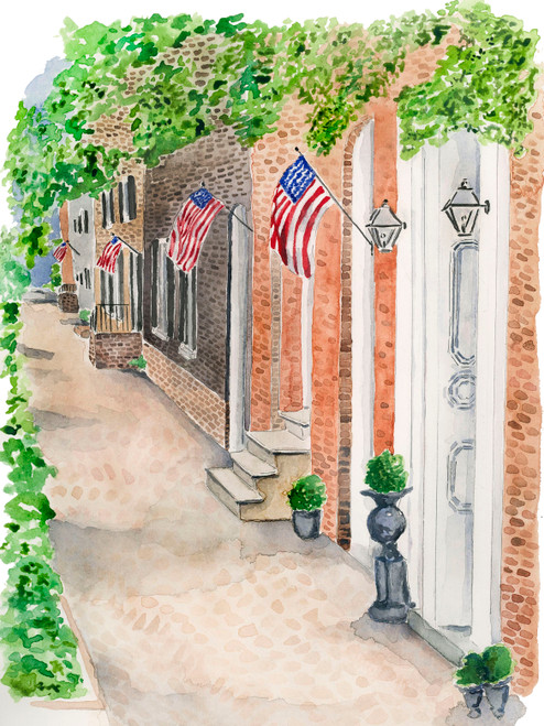 Old Town Alexandria Watercolor Print