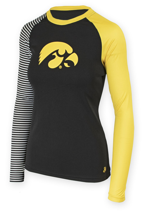 Iowa Hawkeyes Black and Gold Long Sleeve Shirt - Kara