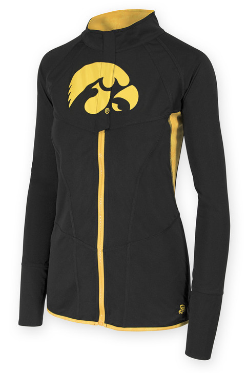 Iowa Hawkeyes Black & Gold Fitness Jacket - Alice