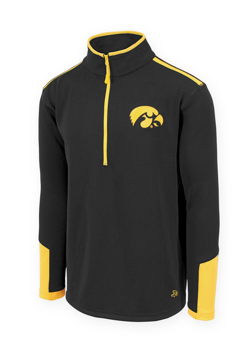 Iowa Hawkeyes Men's Black and Gold Fitness Shirt - Ried