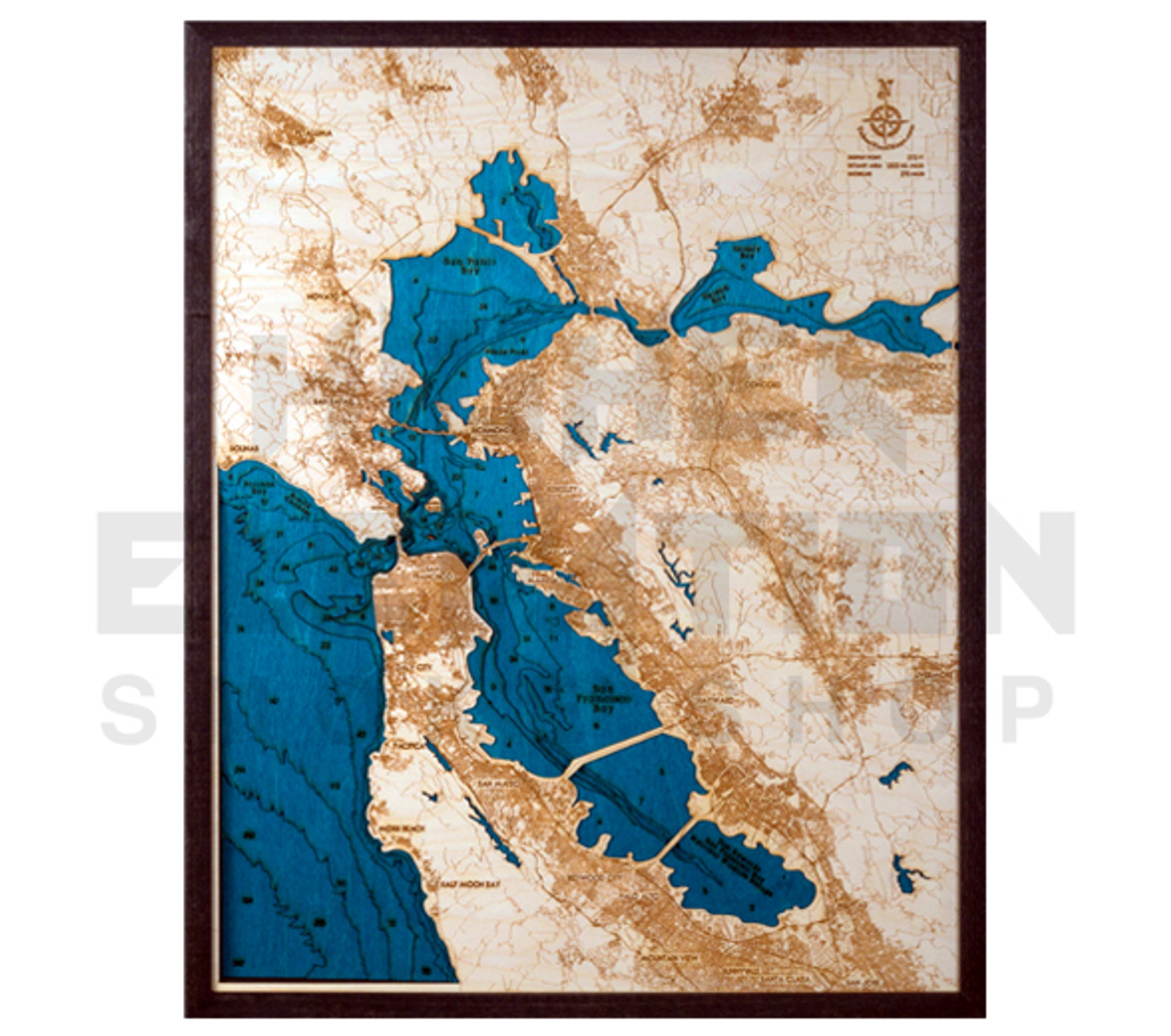 3d Wood Map San Francisco Bay Area Large 31 X 24 Higher Elevation
