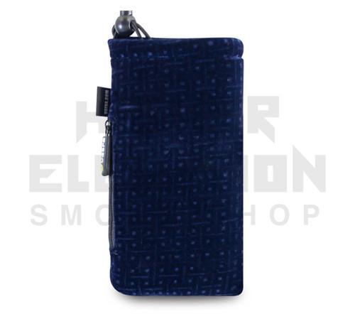 "7.5"" Drawstring  Pipe Bag w/ Zipper Pocket by Vatra - Blue Velvet"