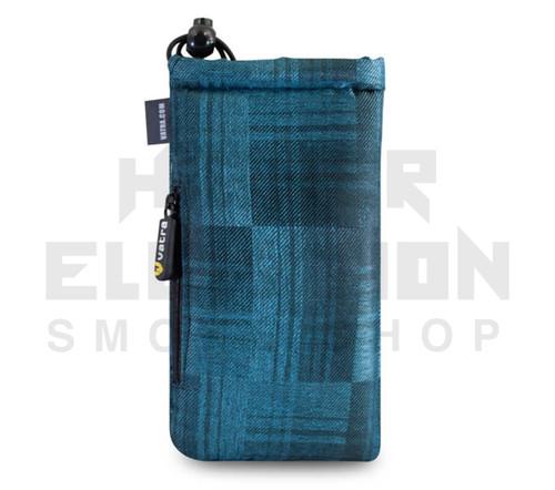 "7.5"" Drawstring  Pipe Bag w/ Zipper Pocket by Vatra - Blue Plaid"