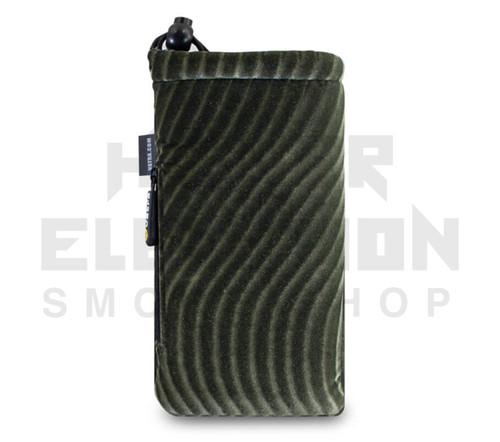"7.5"" Drawstring  Pipe Bag w/ Zipper Pocket by Vatra - Green/Gray Velvet Swirl"