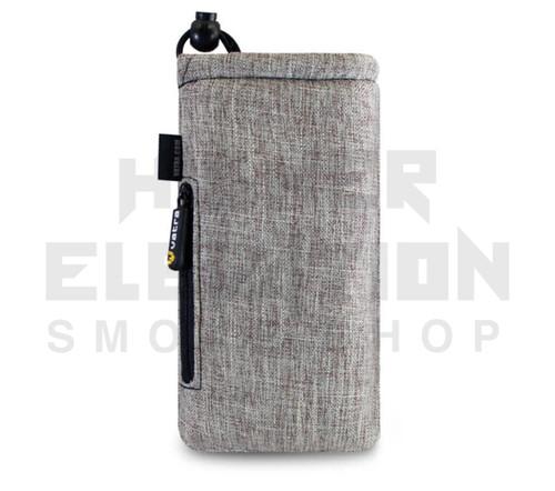 """7.5"""" Drawstring  Pipe Bag w/ Zipper Pocket by Vatra - Khaki Brown Woven"""