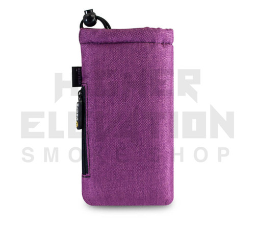 "7.5"" Drawstring  Pipe Bag w/ Zipper Pocket by Vatra - Purple Woven"