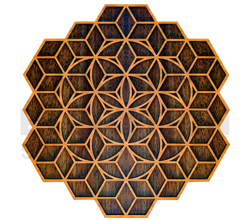Isometric Seed of Life Two Wall Art  (Cherry & Walnut) - 4 Sizes available