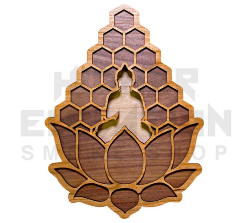 Meditation Lotus Two Layer Wall Art  (Cherry & Walnut) - 4 Sizes available