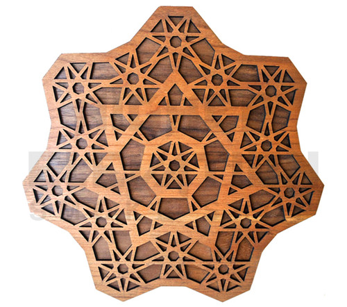 Seven Sided Star Fractal Wall Art  (Cherry & Walnut) - 4 Sizes available