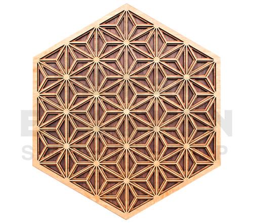 Asanoha Pattern Wall Art (Maple on Cherry on Walnut) - 4 Sizes available