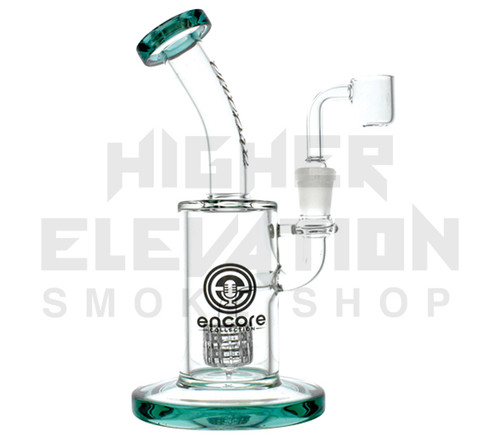 "9"" Fixed Barrel Percolator Rig w/ Bent Neck (assorted Colors)"