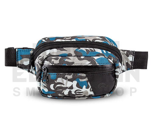 6.5″ x 2.25″ x 5″ Hipster Lockable Odor Protection Fanny Pack by Skunk - Blue Camo