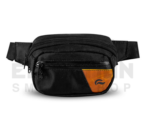 6.5″ x 2.25″ x 5″ Hipster Lockable Odor Protection Fanny Pack by Skunk - Black w/ Leather