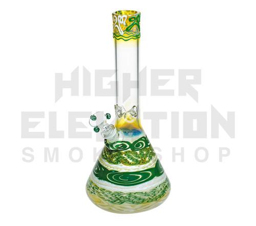 """HVY 11"""" 38Mil Color Cane & Fumed Beaker (assorted colors)"""