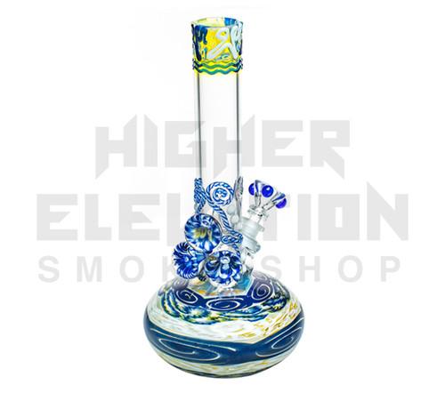 "HVY 11"" 38Mil Color Cane & Fuming Single Bubble w/ 3 Marbles (assorted colors)"