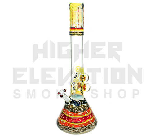 "HVY 20"" 50x5Mil Flame top & Cane Worked Beaker w/ 3 Marbles (assorted colors)"