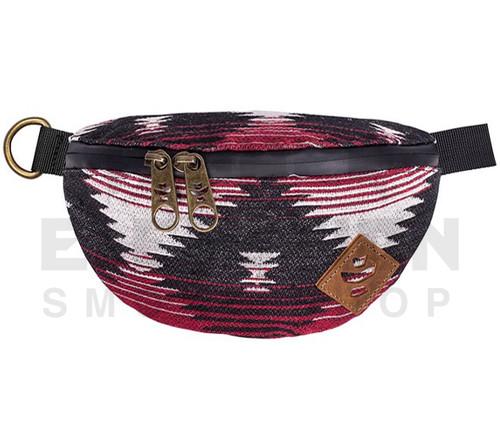 """8.5"""" x 5"""" x 2.5"""" Amigo Odor Protection Fanny Pack by Revelry - Navajo Maroon"""