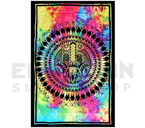 "ThreadHeads Tie-Dye Hamsa Hand Tapestry | 55"" x 83"""