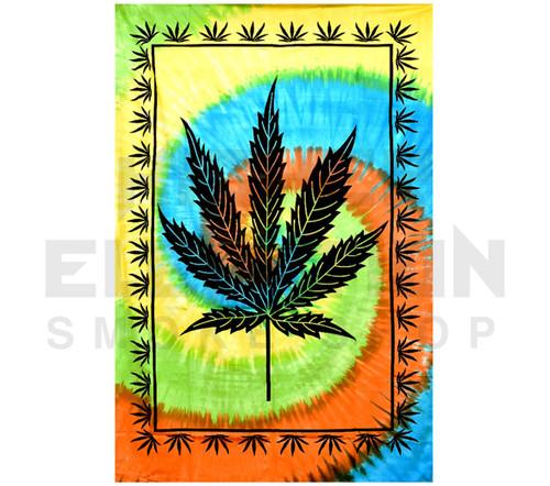 """ThreadHeads Tie-Dye Hemp Leaf Tapestry  55"""" x 83"""""""