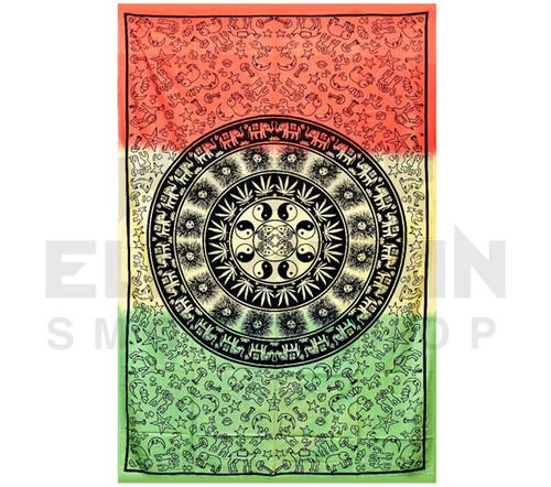 "ThreadHeads Multi-Pattern Rasta Mandala Tapestry  55"" x 83"""