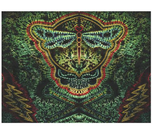 "Feed A Hippie Tie-Dye Tapestry Jolly Dragonfly  60"" x 72"""