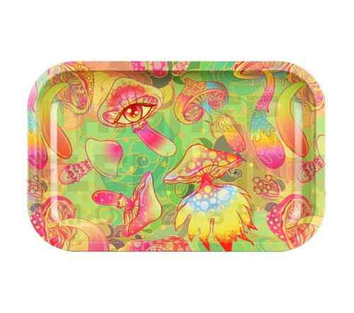"Metal Rolling Tray Psychedelic Shrooms 11"" x 7"""