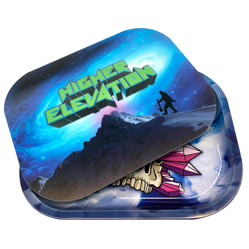 """Higher Elevation Metal Rolling Tray Crystal Skull 5"""" x 7"""" (Includes Magnetic Top"""