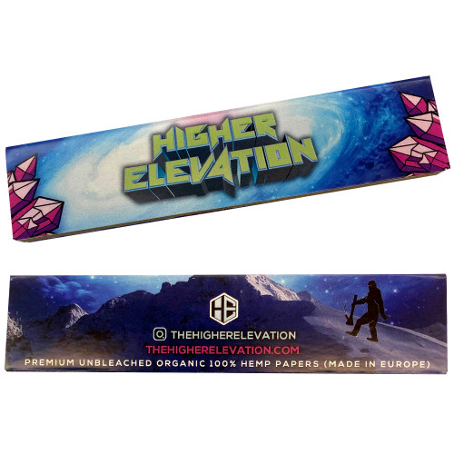 Higher Elevation King Size Slim Premium Unbleached Organic 100% Hemp Papers (50 Papers w/ Tips)