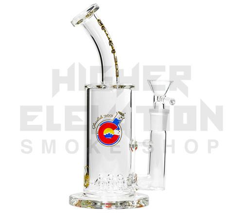 "GlassLab 303 8"" Clear Banger Hanger w/ 3 Wheel Percolator"