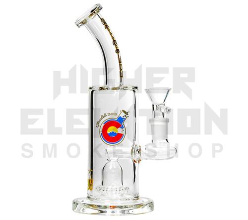 "GlassLab 303 8"" Clear Banger Hanger w/ Showerhead Percolator"