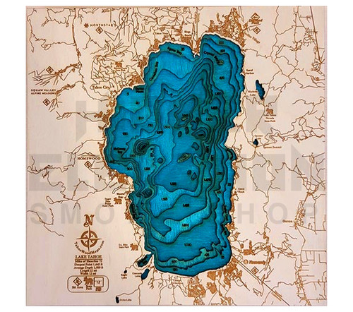 "3D Wood Map Lake Tahoe Mini 10"" X 10"" (no wood frame)"