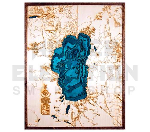 """3D Wood Map Lake Tahoe Large 31"""" X 24"""""""