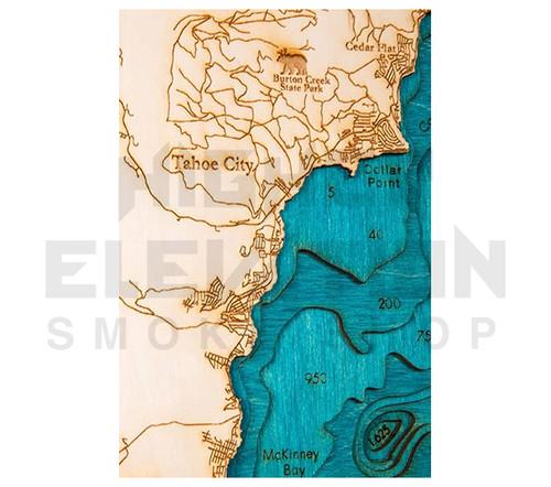 3D Wood Map Lake Tahoe Large 31\