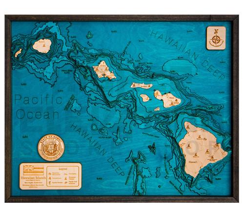 """3D Wood Map Hawaiian Islands Large 31"""" X 24"""""""