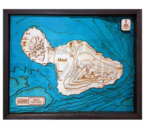 "3D Wood Map Maui Large 20"" X 16"""