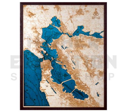 "3D Wood Map San Francisco/Bay Area Large 31"" x 24"""