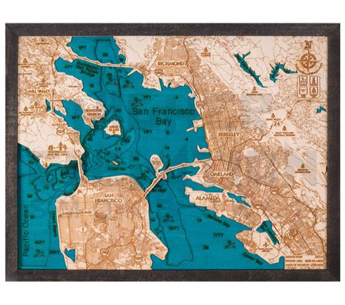 "3D Wood Map San Francisco/Bay Area Medium 15"" x 20"""