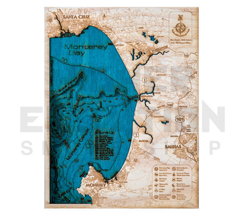 """3D Wood Map Monterey Bay Small 10"""" x 7"""""""