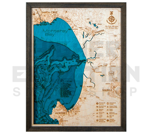 "3D Wood Map Monterey Bay Medium 20"" x 15"""