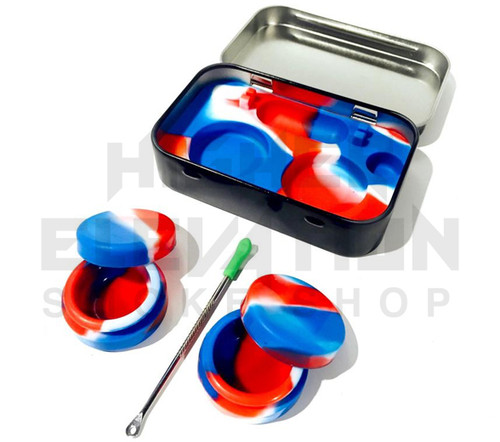 """4.5"""" Tin Case Silicone Containers w/ Dab Tool - Assorted Colors (Out of Stock)"""