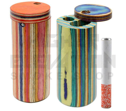 Round Handmade Wooden Dugout w/ One Hitter - Assorted Colors (Out of Stock)
