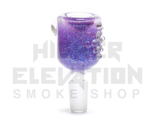 Hitide Glassworks Liquid Filled Glitter Bowl  - Purple Kush
