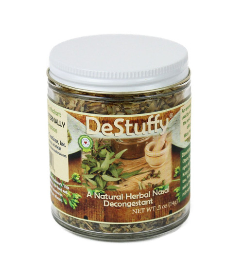 An all natural herbal decongestant. Use it during the hay fever/allergy and cold seasons to unstuff your nose! Comes complete with refresher oil. This item is a non-edible herbal scent jar. DO NOT ingest and keep oils away from pets.  DeStuffy® is a registered trademark. This product or statements have not been evaluated by the Food and Drug Administration. This product is not intended to diagnose, treat, cure, or prevent any disease.