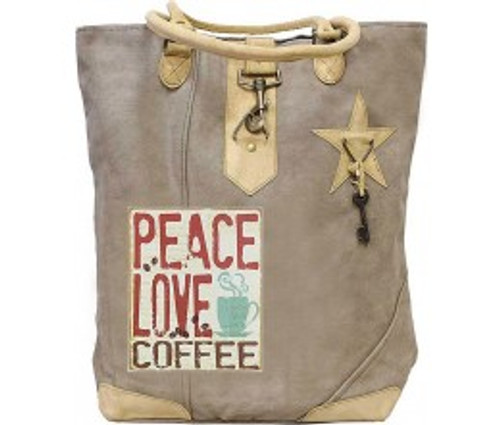 Peace, Love, Coffee Canvas Tote