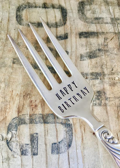 Silver plate vintage flatware stamped with a variety of sayings. Flatware patterns vary and can't be guaranteed to match the photos. Saying will match what you select.