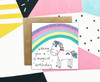 Rainbow Birthday Card Cute Unicorn